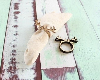 Reindeer Napkin Rings Antler Napkin Rings Christmas Napkin Rings Wood Napkin Rings
