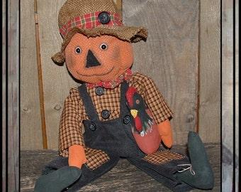 Primitive folk art pumpkin head scarecrow hand embroidered, handmade rooster raffia burlap hat HAFAIR ofg haguild faap