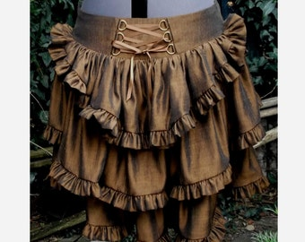 steampunk bustle skirt two tone brown and black thai silk with back corset lacing any size