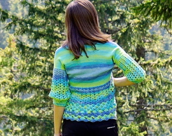 Amazing yellow, blue, green and turquoise crochet and knit bolero, blouse
