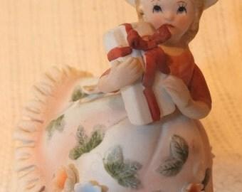 Vintage Lefton Bloomer Girl With Present Figurine