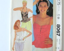 1980s Corset Camisole Bustier Pattern McCalls 8067 Womens Peplum Summer Top Steampunk Cosplay Sewing Pattern Size 14 Bust 36 UNCUT