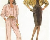 80s Womens Dress or Jumpsuit and Lined Dolman Sleeve Jacket Jiffy Simplicity Sewing Pattern 8350 Size 10 12 14 16 Bust 32 1/2 to 38 UnCut