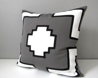 "SALE, Grey & White Geometric Pillow Cover, Decorative Outdoor Throw Pillow Case, Modern Black White Gray Graphic Sunbrella Cushion Cover 18"""