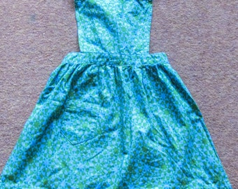 Vintage 1960s Little Girls Pinafore Apron ~ Fab Psychedelic Green and Blue