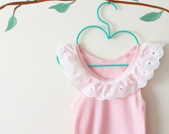 Lace Collar Baby Tank in Pastel Pink