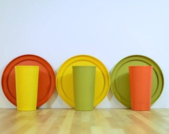 Vintage Tupperware Tumblers and Coordination Plates: Serving Set for Three Harvest Colors Orange, Green, Yellow