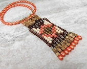 Aztec Native American Inspired Beaded Necklace with Peach Coral-Cool & Unique Boho Jewelry by Sharona Nissan