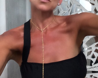 """Sexy Lariat Necklace- Gold Chain Y Lariat with Pull Through Gold Bars 30"""" (can also be won as back necklace) Free Shipping"""