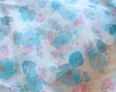 Sheer Aqua Blue Pink Floral Fabric