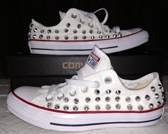 Studded Spike Converse Low Top White with Silver