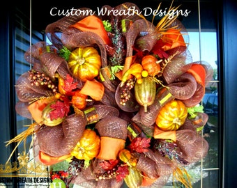 Orange and Brown Fall Mesh Wreath