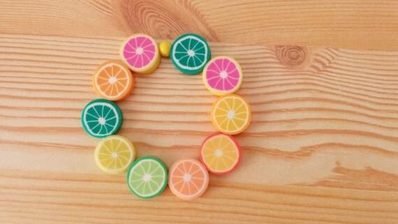 Girls bracelet,fruit bracelet,lemon bracelet,orange bracelet,children bracelet,kids bracelet,baby bracelet,child bracelet, birthday favor