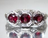 Antique Art Deco Triple Natural Garnet White Gold Engagement Ring 18K