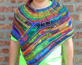 Asymmetric Lightweight Vest  Hand Knit Wrap Shawl Handmade Poncho For Girl Ready To Ship
