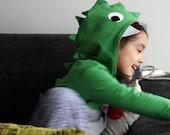 Dinosaur costume kids' hoodie sweatshirt. Crocodile big reptile kids' halloween costume. Sizes from 2 to 7 years. Made to order.