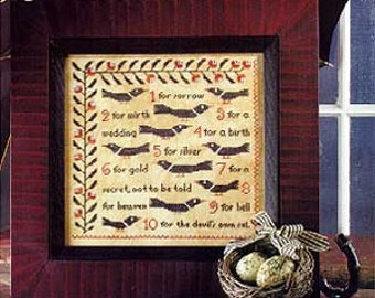 Counting Magpies : Birds of a Feather cross stitch patterns sampler nursery rhyme hand embroidery