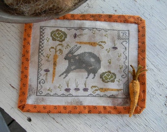 Rabbit Stew : Notforgotten Farm Lori Brechlin counted cross stitch patterns Easter Spring carrots hand embroidery