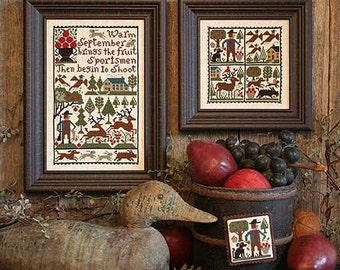 September Book No. 173 : The Prairie Schooler cross stitch pattern Autumn hunting sportsman counted hand embroidery