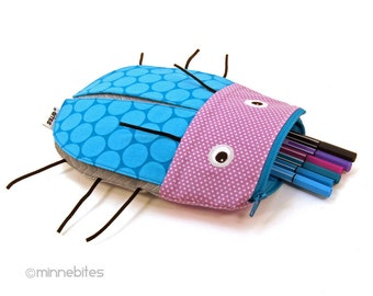 Beetle Case by MinneBites / Handmade Pencil Case - Teal Purple Bug Pouch - Toy Bag Organizer - Art Supplies - Back to School - Ready to Ship