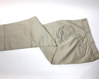 "newer vintage -Ben Silver- Men's khaki trousers. Like 'NeW'. Cotton 'English Drill' - Winter weight. Pleat front - Tapered leg. 34"" Waist"
