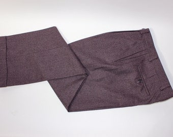 "vintage 80's - 90's -Jaeger- Men's pleat front trousers. Like 'NeW'. Brindled Plum - Wool Flannel. 34"" Waist"