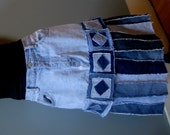 Recycled Jeans Skirt - Patchwork, Size 12