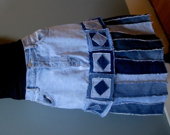 Recycled Jeans Skirt - Upcycled Blue Jeans,  Patchwork Denim, Size 12