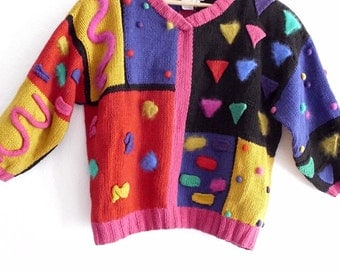 Vintage Art to Wear.Hand-Knitted Cropped  Sweater