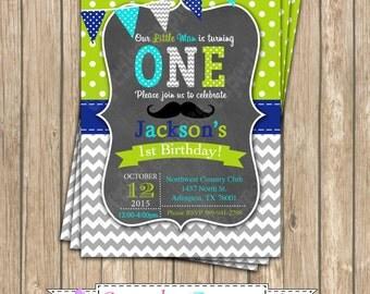 Little Man One First Birthday BOY mustache PRINTABLE chalkboard Invitation #1  grey lime green aqua blue  1st birthday diy 1090