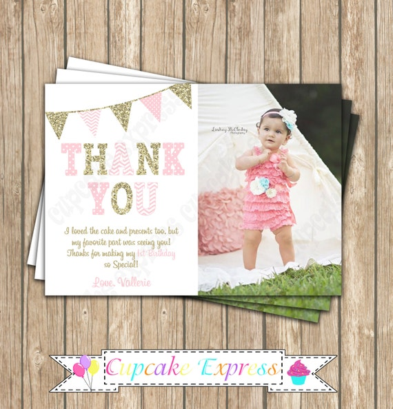 Pink And Gold Thank You Card First Birthday Girl Photo Thank You