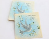 Wedding Gift Card Enclosure Lot of 10 Unused Mid Century Cards with Dove and Wedding Ring