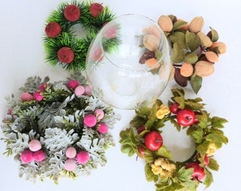 Seasonal Floral Candle Holder with Wreath Rings Glass Globe Hurricane Centerpiece Set