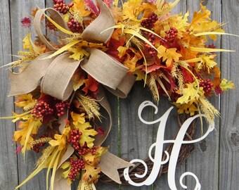 Fall Door wreath, Autumn Fall wreath, Burlap Fall wreath, fall monogram door wreath, Burlap Wreath, Fall Wreath with Letter, Etsy Wreath