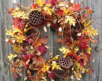 Fall Wreath Fall / Autumn Wreath Fall vines and pods Wreath, Rich Colorful Designer Fall Wreath, Wild Harvest Wreath, Etsy Wreath