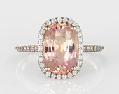 CERTIFIED  3.07 carat natural peach sapphire, 14k gold, diamonds halo engagement ring  Joan-2304
