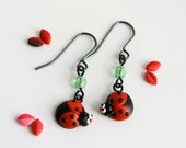 Ladybug Dangle Earrings - Fun Insect Jewelry  - Bug hooks in red and black