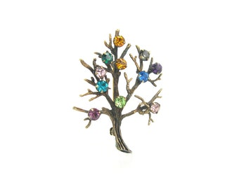 Tree of Life Brooch. Rhinestone Birth Month Jewelry. Sterling Silver, Gold Wash. 1960's Vintage Rainbow Family Tree.