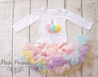 Girls Pettiskirt- Birthday Outfit - 1st birthday clothes - Cupcake birthday outfit - Birthday- First birthday - Tutu Birthday outfit