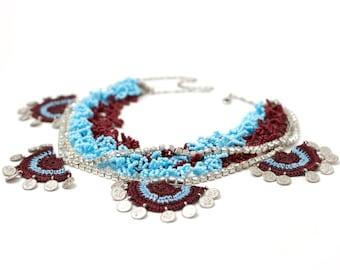 Necklace-Bohemian Crochet Beaded Statement Necklace,Chunky Rhinestone Statement Necklace,Luxury Jewelry,Ethnic Authentic