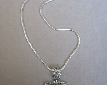 "Mother of Pearl Square Pendant with  a 4mm 22"" Silver Snake Chain Pendant"