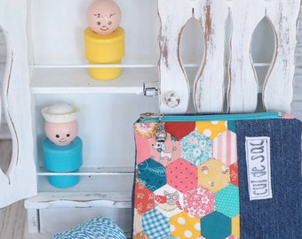 """Eco friendly cosmetic or pencil case mini hexagons patchwork 1/2"""" hexagones zipper pouch hexies owl dog fish coral yellow teal aqua green"""