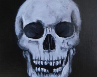Black and Blue Original Skull Painting Size 18x24 - Large Shiny Skull Artwork - Acrylic Art Painting