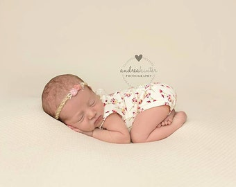 Newborn Floral Print Romper, Baby Girl, Pink, Flowers, Clothing, Headband, Accessories, Photography Prop, Clothing Sets, Jersey Knit
