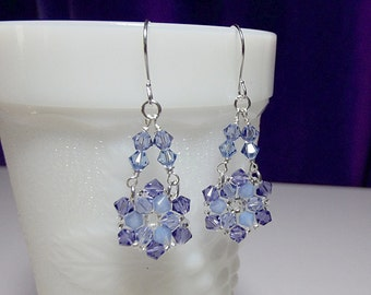 Lilac Purple Blue Crystal Chandelier Drop Earrings, Christmas Gift, Mom Sister Grandmother Girlfriend Bridesmaid Jewelry Gift, Classy