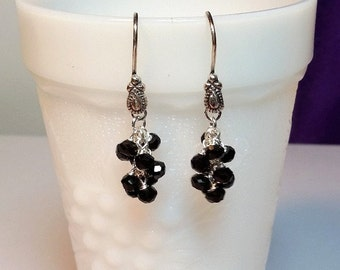 Black Onyx Cluster Drop Earrings, Christmas Mothers Day Gift, Mom Sister Bridesmaid Jewelry, Gemstone Birthstone, Silver