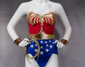 WS2 Wonder Suit Cosplay Costume, red blue and gold women's corset, Lynda Carter Super Hero woman one piece suit with belt, eagle and stars