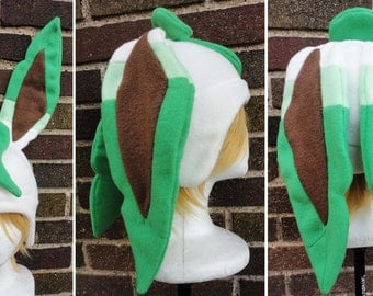 Leafeon Pokemon Hat - Fleece Hat Adult, Teen, Kid - A winter, nerdy, geekery gift!