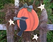 Fall wreath, wooden crow pumpkin star, twig wreath, Autumn, Fall, door wreath, prim country decor, Hand painted