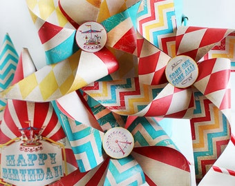 Vintage Carnival Pinwheels Templates - INSTANT DOWNLOAD - Printable Party Decorations by Sassaby Parties